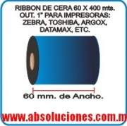 "RIBBON DE CERA 60 X 400 Mts. OUT, 1""."